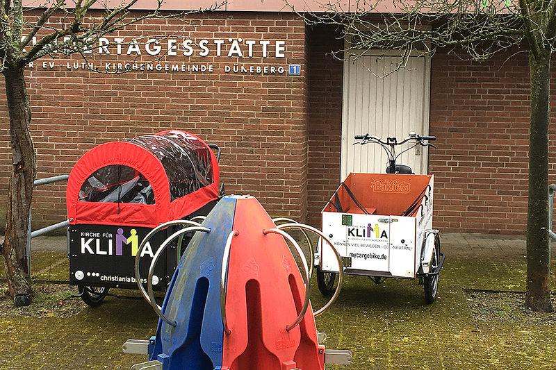 Zwei Wochen werden die Lastenfahrräder in der Kita Arche Noah getestet.
