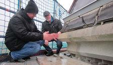 Werner Grage (li.) und Horst Diestel an der Traufe des Turmes (Übergang von Turmstumpf zum Turmhelm). Hier ist das bereits durch den Steinmetz reparierte Sandsteintraufgesims zu sehen und die lose Kupferblecheindeckung. Der untere Teil der Kupferblecheindeckung ist entfernt worden.