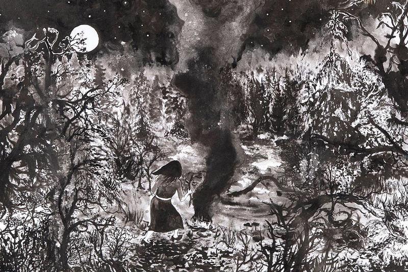 Die Dunkelwelt mit ihren sumpfigen Wäldern, darin eine Hexe am Feuer.
