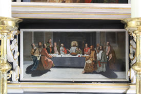 Ein Gemälde des letzten Abendmahls in St. Laurentius Ziethen