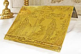 Lesepult aus Messingblech von Andreas Gregorius, Pastor zu Basthorst Anno 1651 - Copyright: Manfred Maronde
