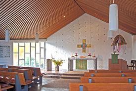 Innenansicht der Katharinenkapelle Müssen mit Blick auf den Altar - Copyright: Manfred Maronde