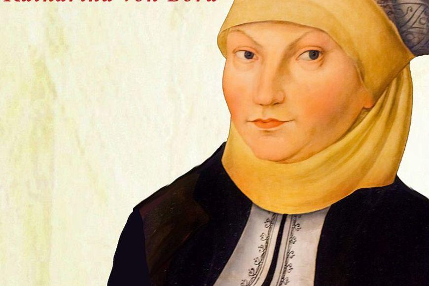 Unter Logo und Einladungstext schaut uns ein Portrait von Katharina von Bora an. Unten im schwarzen Feld Ort- und Zeitangabe - Copyright: Pastorin L. Stribrny de Estrada