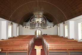 Innenansicht der Heilig-Geist-Kirche Mölln, Blick auf die Orgel