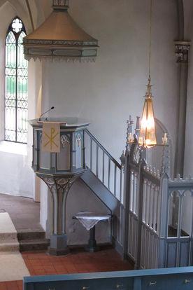Die Kanzel der St.-Marien-Kirche Basthorst - Copyright: Ev.-Luth. Kirchenkreis Lübeck-Lauenburg