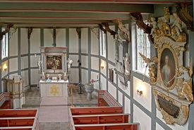 Innenansicht der St.-Anna-Kirche in Niendorf, Blick von der Empore - Copyright: Manfred Maronde