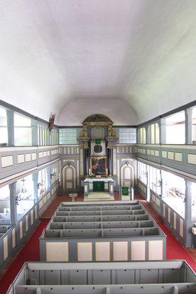 Innenansicht von der Empore in St. Johannis Siebeneichen