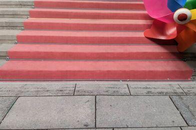 Treppenstufen mit rotem Läufer und Windmühle in der oberen Ecke rechts - Copyright: Silke Meyer