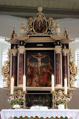 Blick auf den historischen Altar der St.-Laurentius-Kirche Ziethen - Copyright: Manfred Maronde