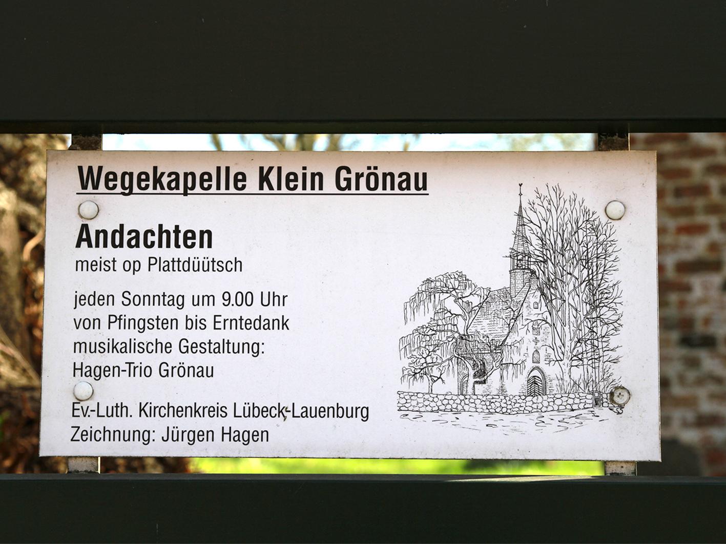 Bis Erntedank finden in der Wegekapelle Klein Grönau wieder die Plattdüütschen Andachten statt.