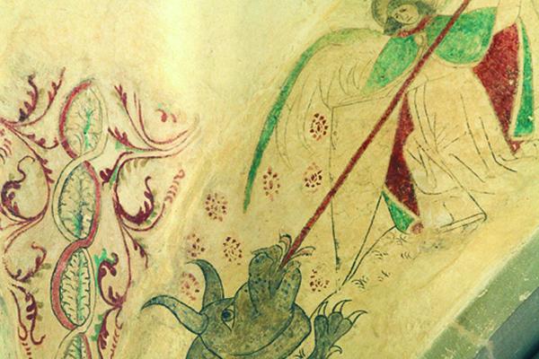 Kirchenmalerei: Der Engel Michael kämpft mit dem Satan